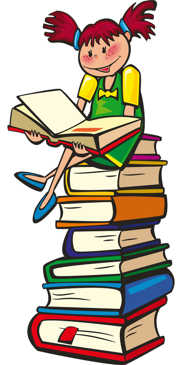 A girl reading on a stack of books